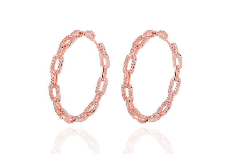 DAYA 2in1  - The BIG  INSIDE / OUTSIDE Chain Hoops - Roségold
