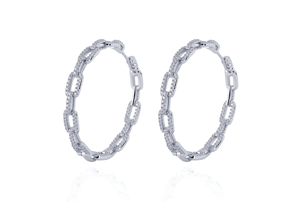 DAYA 2in1  - The BIG  INSIDE / OUTSIDE Chain Hoops - Silber