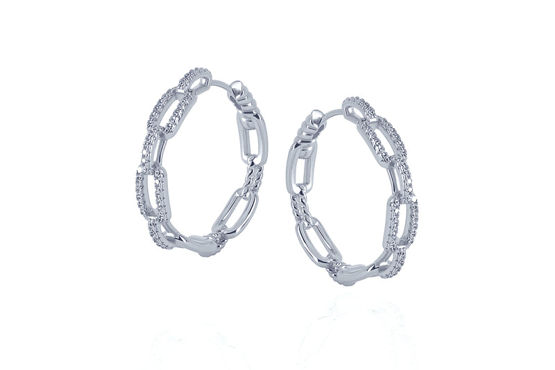 DAYA 2in1  - THE MEDIUM CHAIN HOOPS - Silber