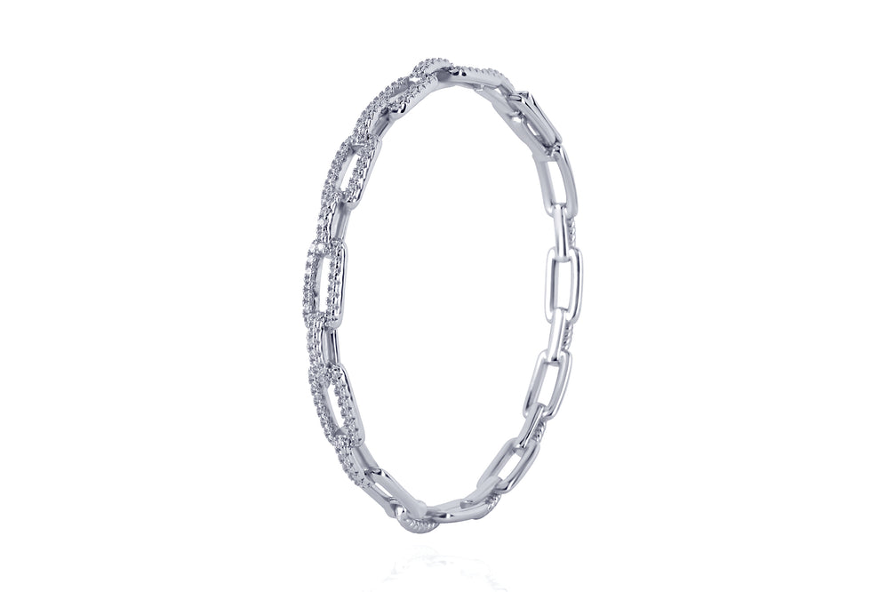 DAYA 2in1 BANGLE - Cooler Glieder-Armreif - SILBER
