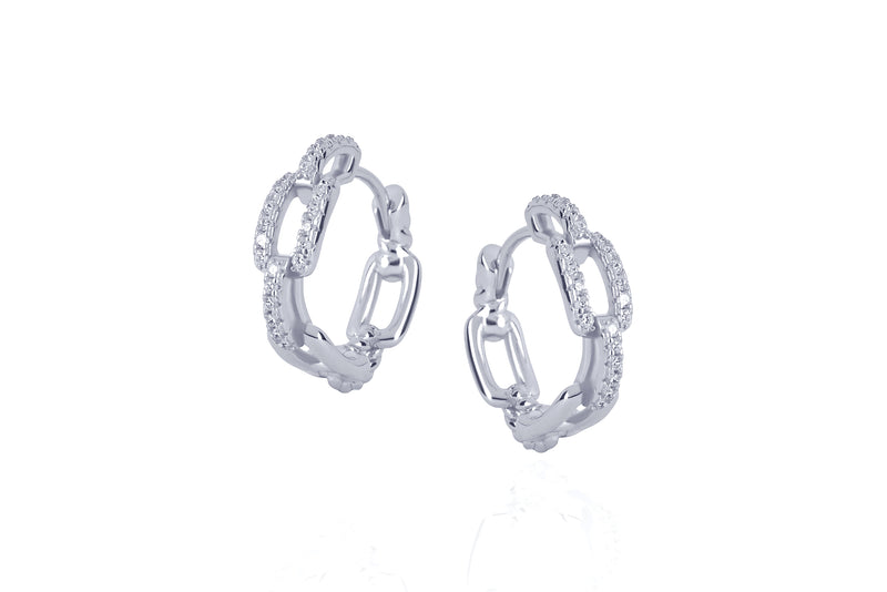 DAYA 2in1  - THE SMALL CHAIN HOOPS - Silber