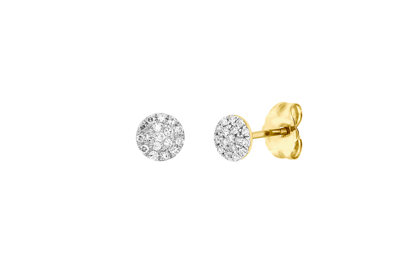 MAXIME - 4.8mm Pave Diamond Round Disc Stud Earrings - 14K Gold