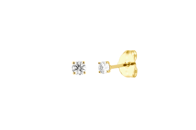 EWA - 2.5mm Full Cut Diamond Solitaire Stud Earrings - 14K Gold