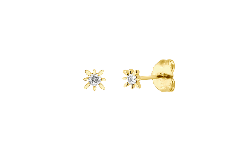 MARQUISE - Stud Earring with Diamond - 14K Gold