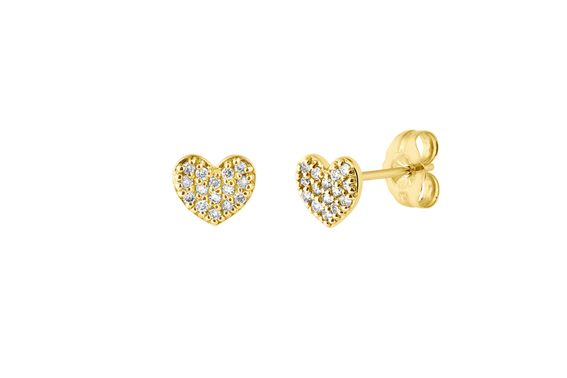 CARYS - Heart Stud Earring with Diamonds in Pave Setting - 14K Gold