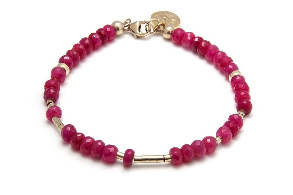 RUBY - All In Morsecode Bracelet - Kugelarmand - Rubin/ Gold - CLASSYANDFABULOUS JEWELRY