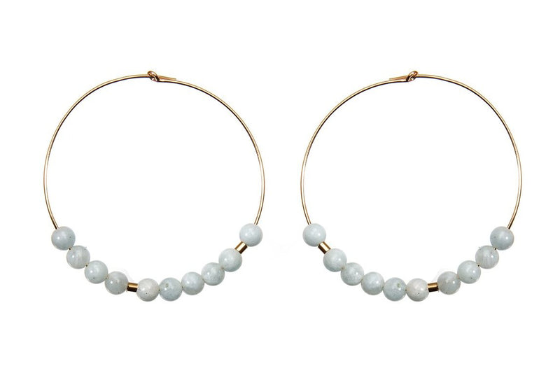 Meaningful Gemstone Hoops - extravagante Morsecode Creolen - Aquamarine/ Gold - CLASSYANDFABULOUS JEWELRY