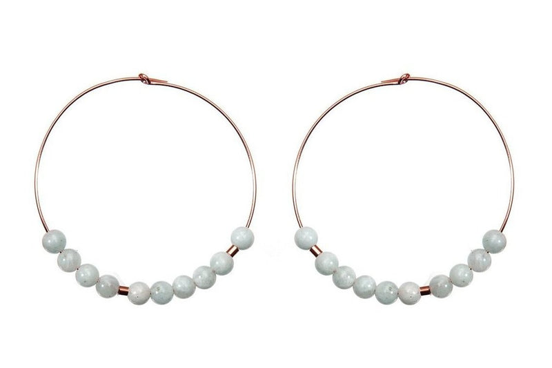 Meaningful Gemstone Hoops - extravagante Morsecode Creolen - Aquamarine/ Roségold - CLASSYANDFABULOUS JEWELRY