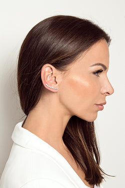 Slightly Curved Ear Climper - CLASSYANDFABULOUS JEWELRY