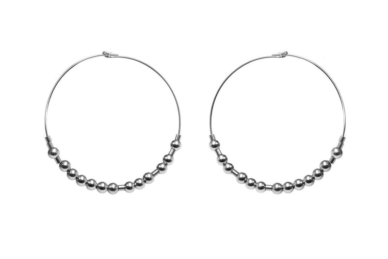 Meaningful Hoops - extravagante Morsecode Creolen - Silber