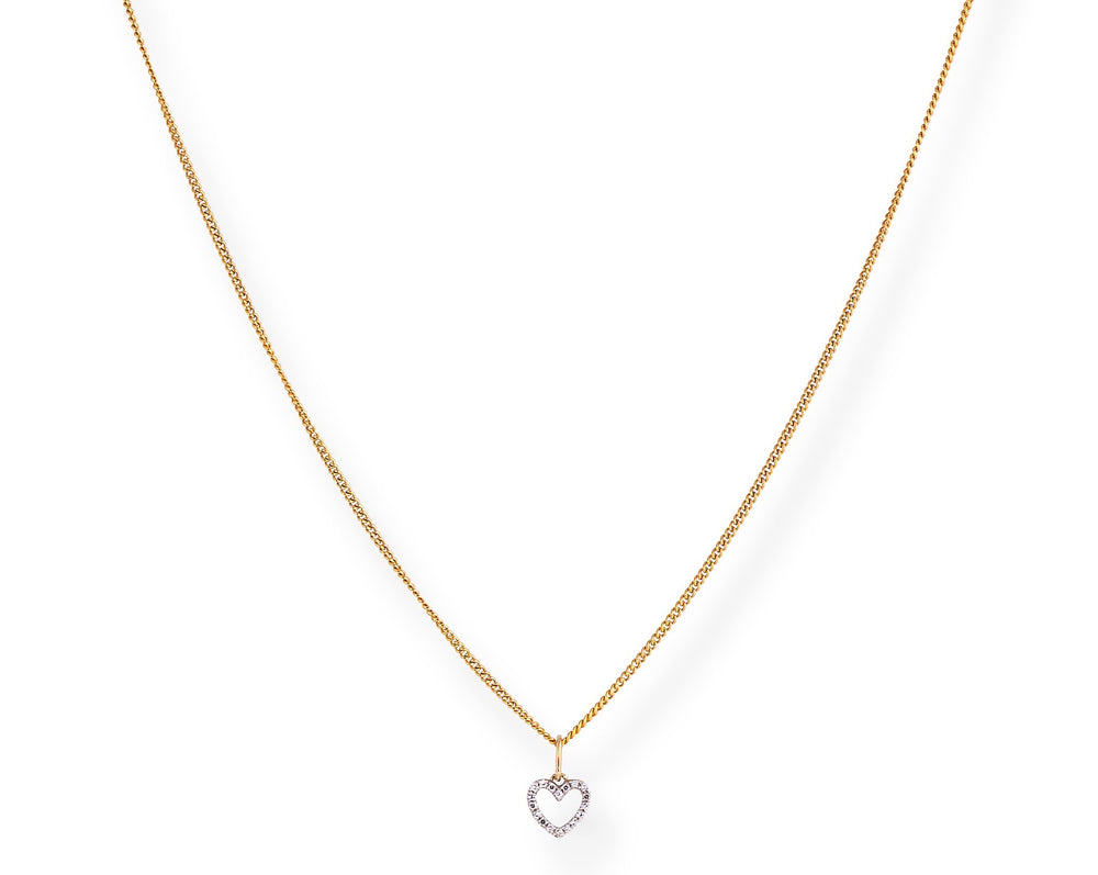 NEW The Diamond Heart Chain - Kette mit Herz Anhänger aus Diamanten -  Gold