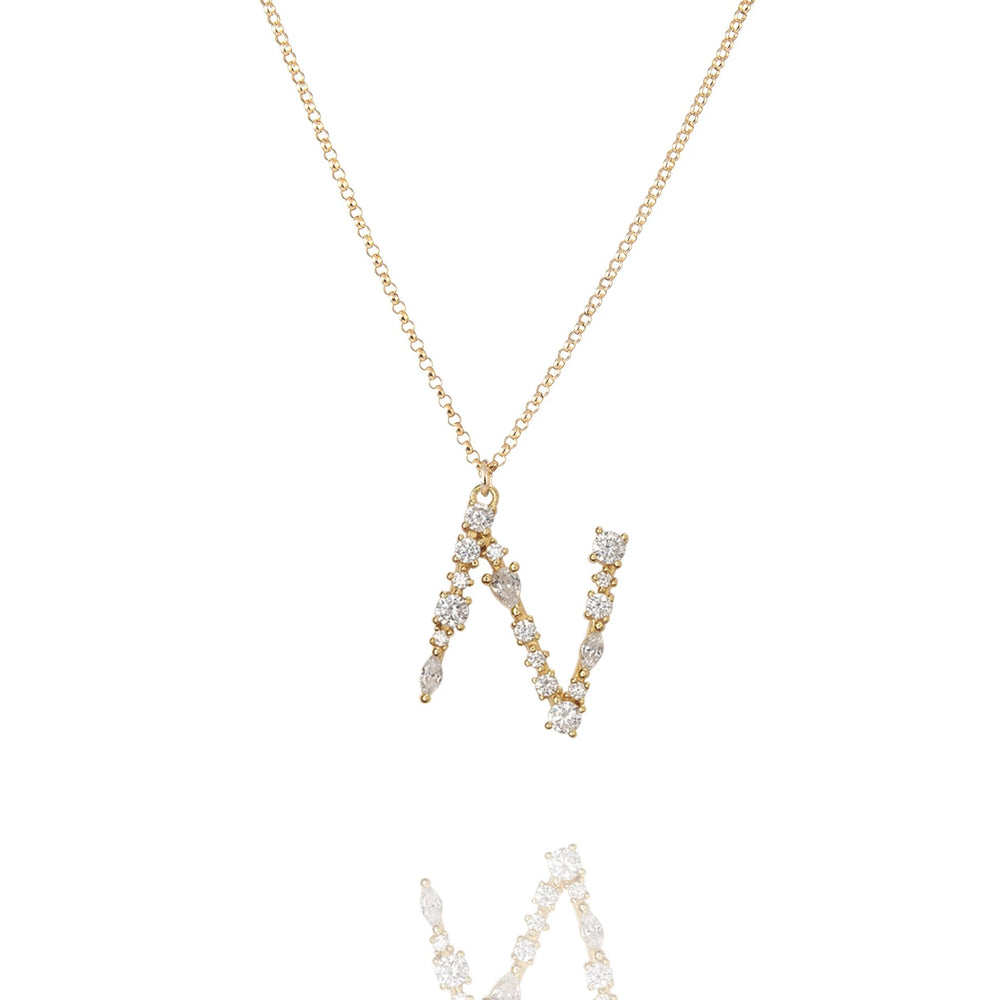 N - Buchstaben Kette - Letter Chain - Gold - CLASSYANDFABULOUS JEWELRY