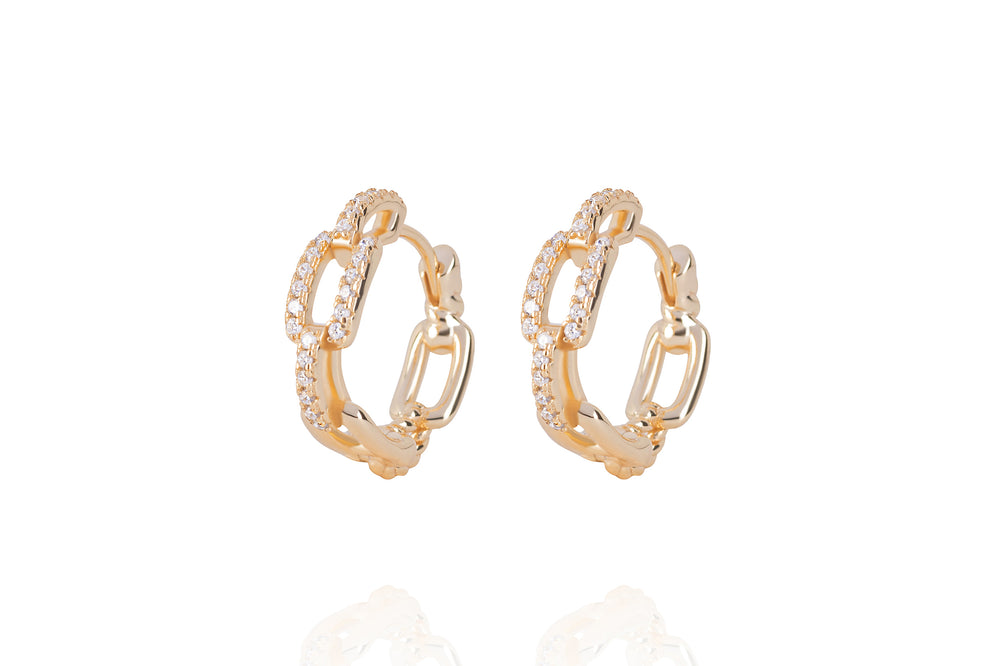 DAYA 2in1  - THE SMALL CHAIN HOOPS - Gold