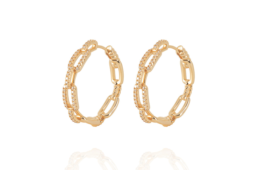 DAYA 2in1  - THE MEDIUM CHAIN HOOPS- Gold