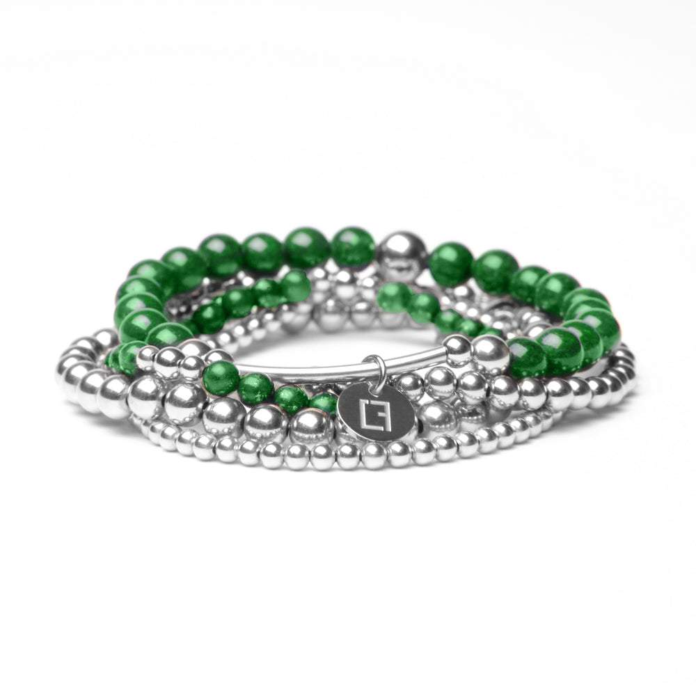 THE KELLY STACK - Set aus 5 Kugelarmbändern - Grüner Jade Stein - CLASSYANDFABULOUS JEWELRY