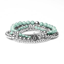 THE TEAL STACK - Set aus 5 Kugelarmbändern - Türkiser Jade Stein