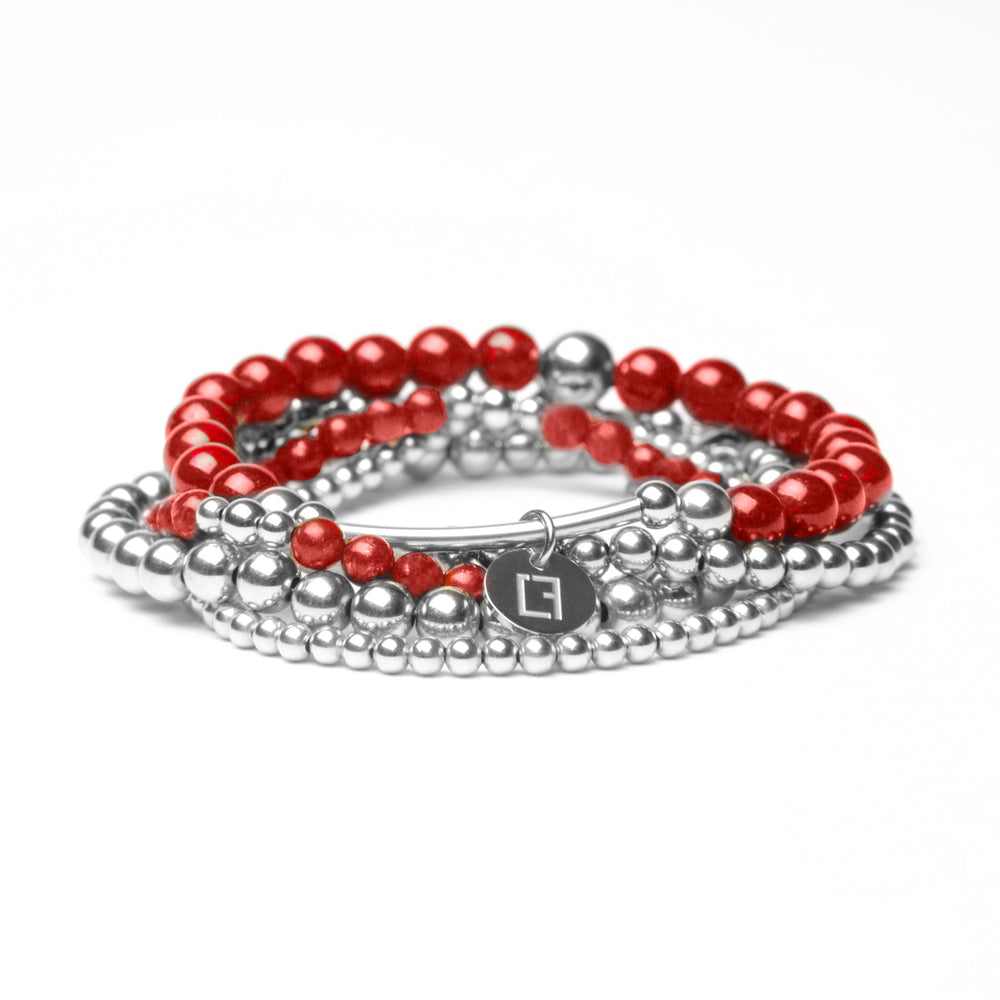 THE CHERRY  STACK - Set aus 5 Kugelarmbändern - Roter Jade Stein