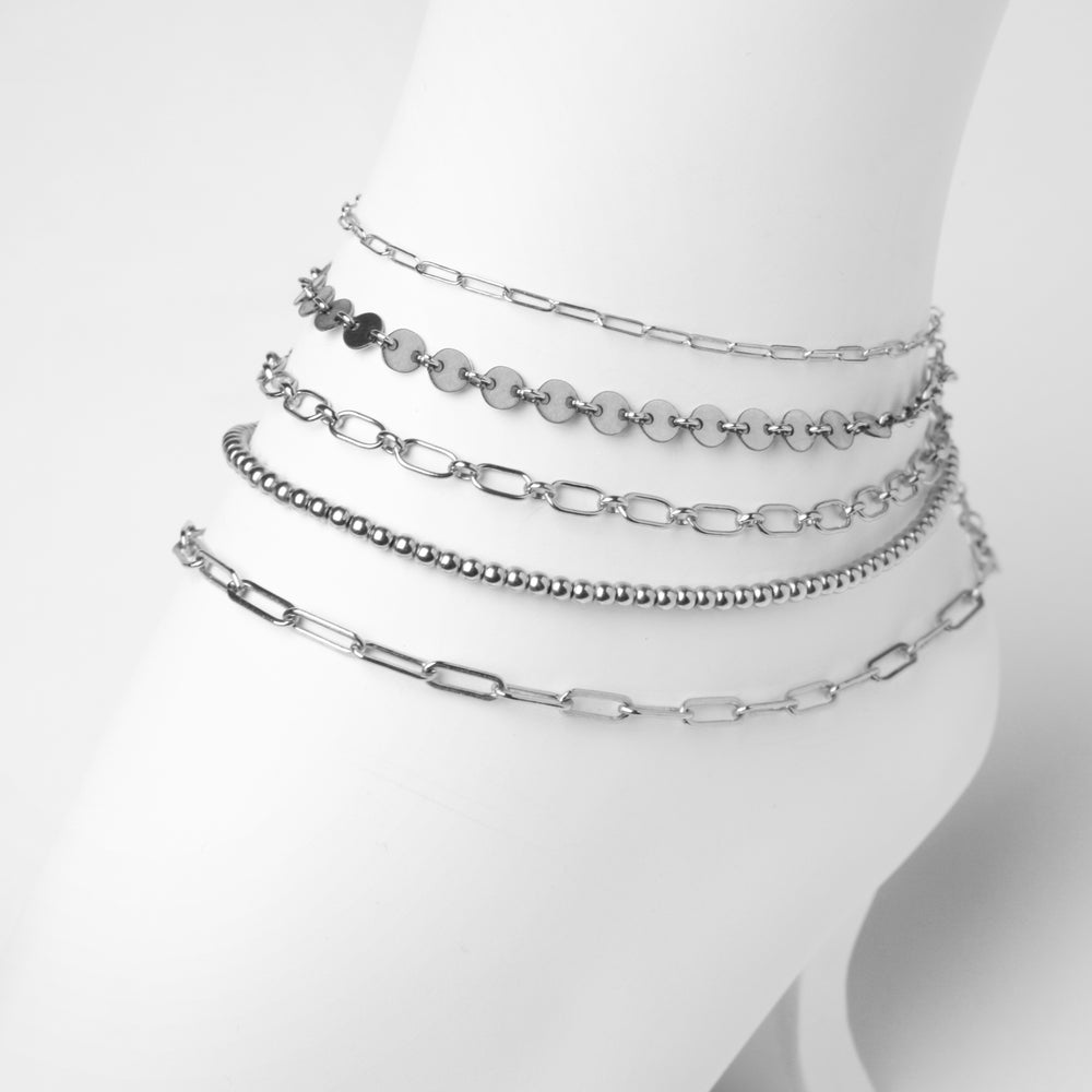 VALDA Medium Anklet - cooles Fusskettchen -  Silber - CLASSYANDFABULOUS JEWELRY