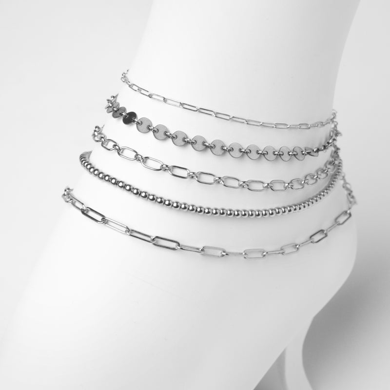 NEVE Anklet  - Pailletten Fusskette -  Silber - CLASSYANDFABULOUS JEWELRY