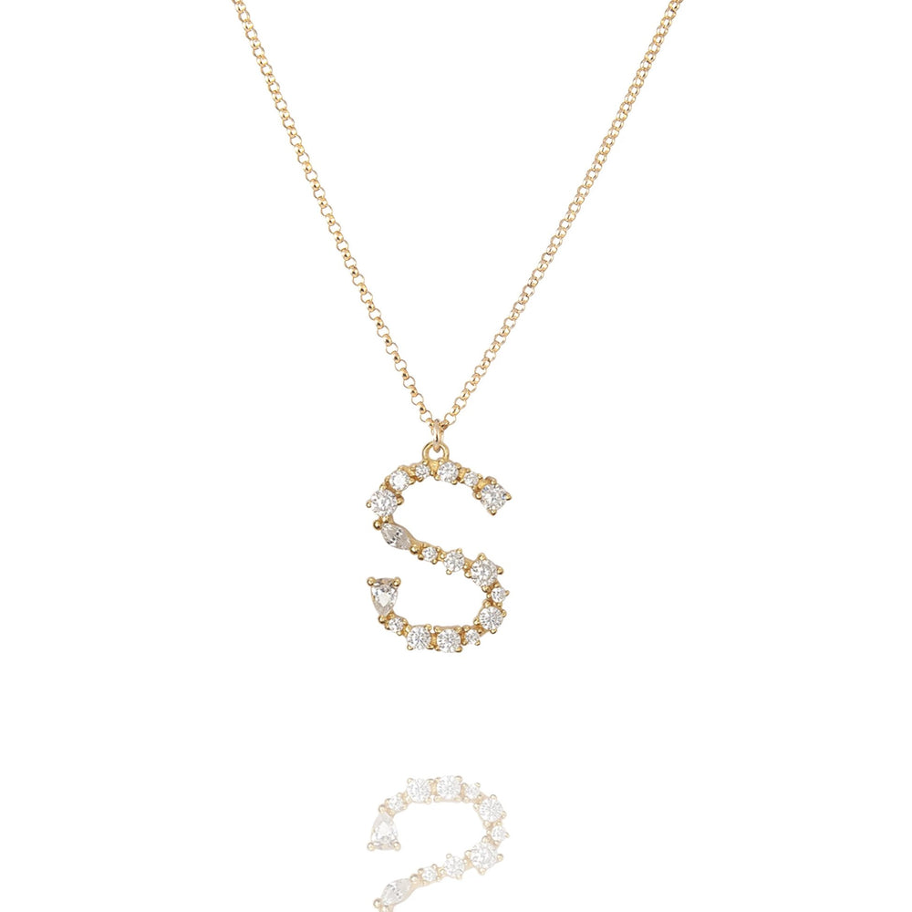 S - Buchstaben Kette - Letter Chain - Gold - CLASSYANDFABULOUS JEWELRY