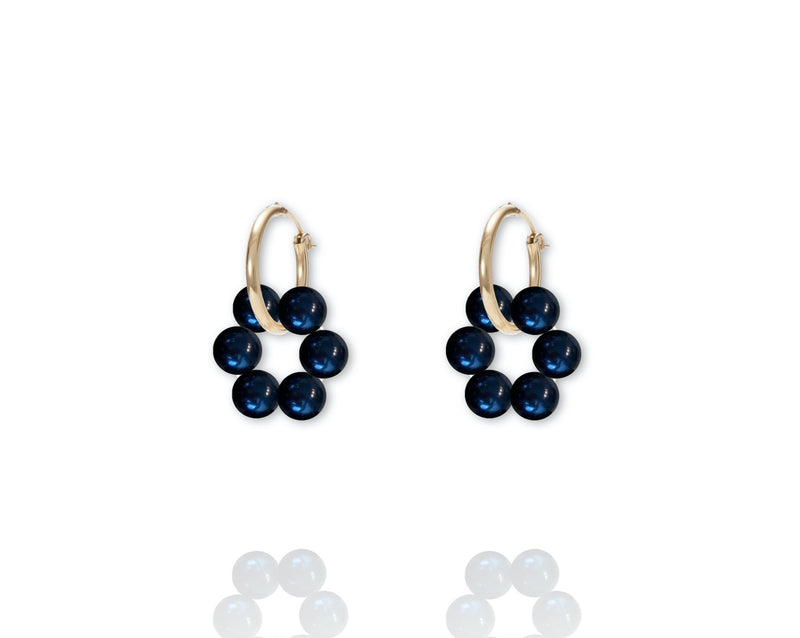 ABSOLUT AZALEA Pearl Earring - Gold / Dark Blue