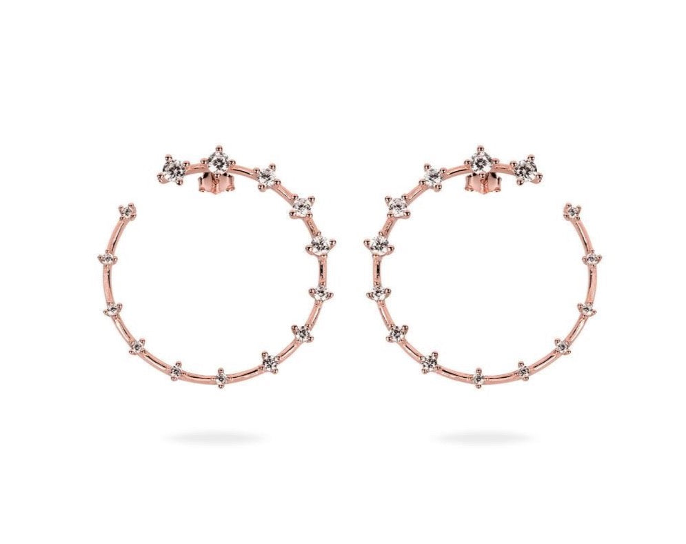 GIZA Diamond Row OPEN Circle Earrings - Roségold - CLASSYANDFABULOUS JEWELRY
