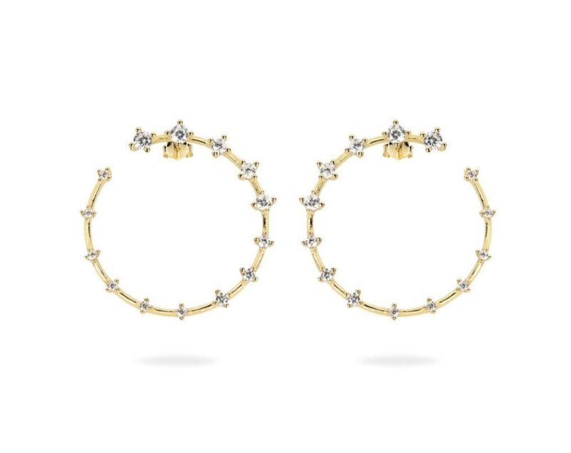 GIZA Diamond Row OPEN Circle Earrings - Gold - CLASSYANDFABULOUS JEWELRY