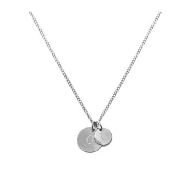 CARA II   - THE LOVE TAG OR SWEET INITIAL NECKLACE - Kette mit 2 gravierbaren Medaillon Anhängern -  Silber - CLASSYANDFABULOUS JEWELRY