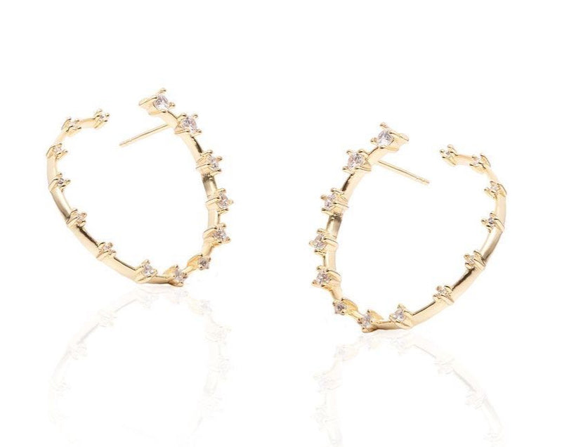GIZA Diamond Row HIDDEN Circle Earrings - Gold
