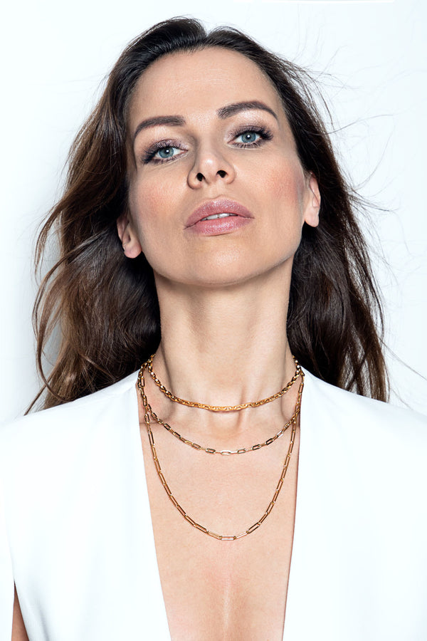 EVELYNA Long Link Choker  - Grobe Gliederkette -  Gold - CLASSYANDFABULOUS JEWELRY