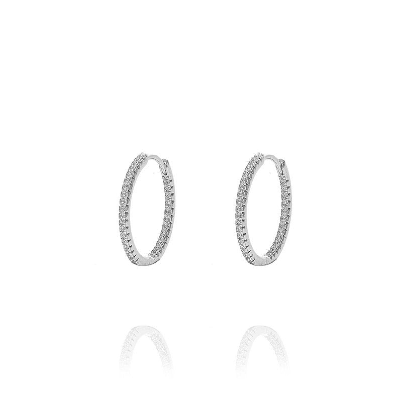 ALEA 2in1 - DIAMOND INSIDE OUTSIDE HOOPS AND PLAIN HOOPS -Mini-  Silber rhodiniert