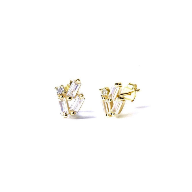 LORA PIN STUD Earrings - Gold - CLASSYANDFABULOUS JEWELRY