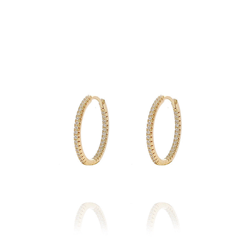 ALEA 2in1 - DIAMOND INSIDE OUTSIDE HOOPS AND PLAIN HOOPS - Mini -  Gold