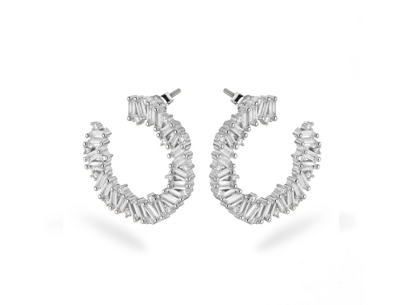 LORA PIN MOON Earrings - Silber Rhodiniert - LIMITIERT - CLASSYANDFABULOUS JEWELRY