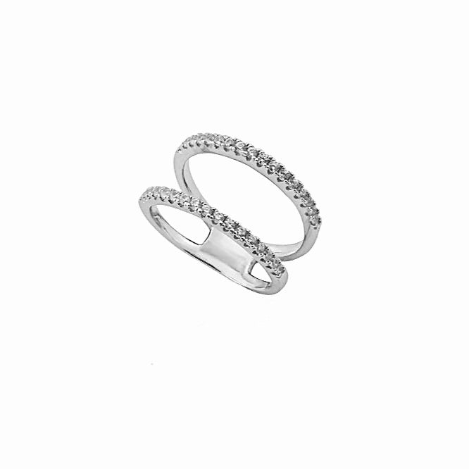 CARIS Tight Double Ring - Silber rhodiniert - LIMITIERT - CLASSYANDFABULOUS JEWELRY