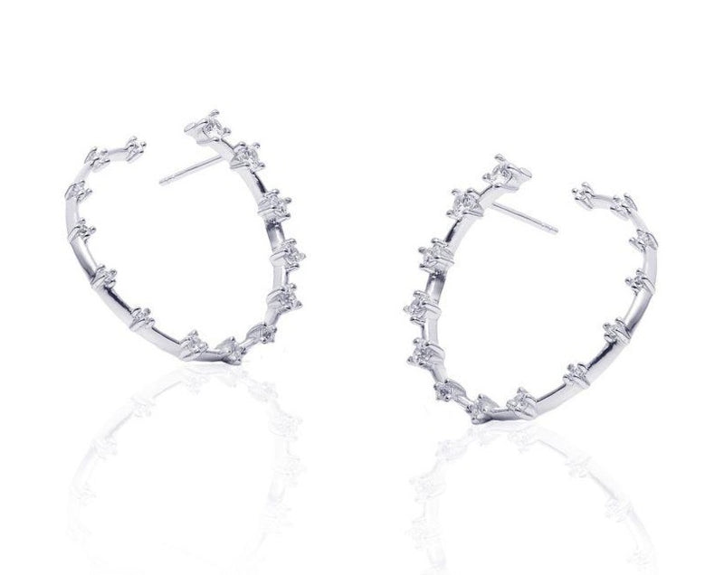 GIZA Diamond Row HIDDEN Circle Earrings - Silber