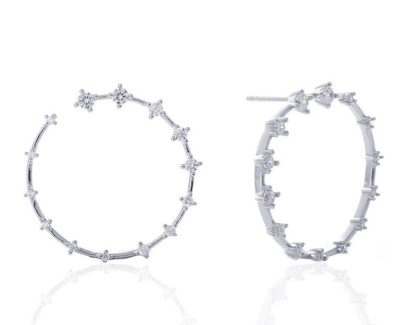 GIZA Diamond Row OPEN Circle Earrings - Silber