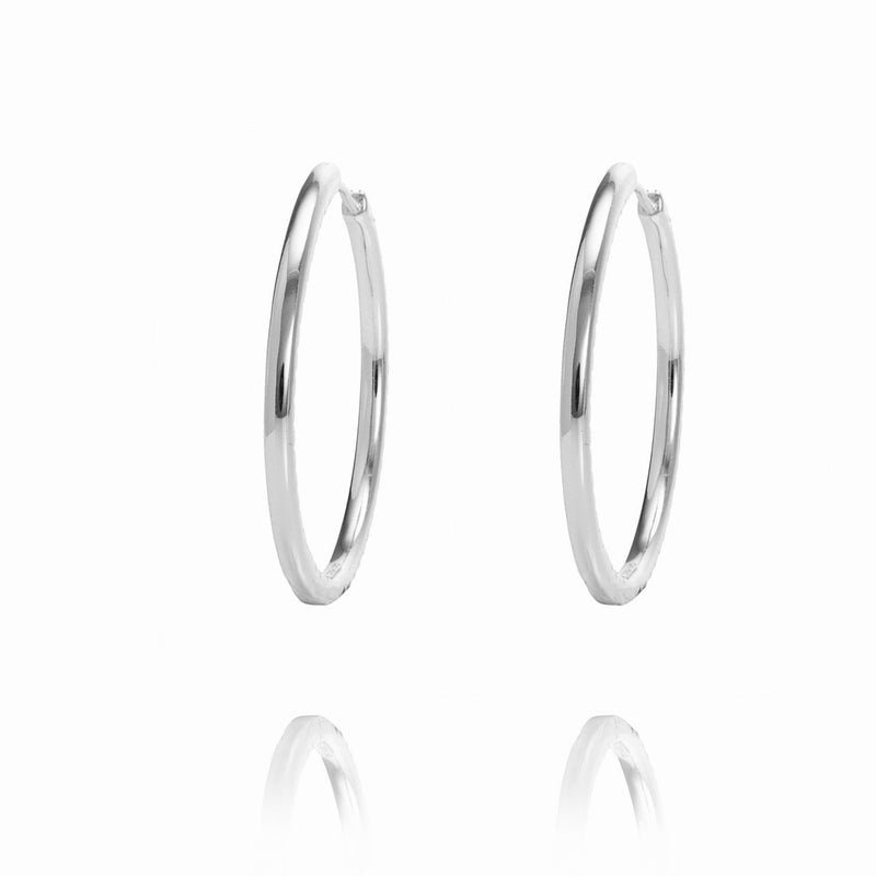 ALEA 2in1 - DIAMOND INSIDE OUTSIDE HOOPS AND PLAIN HOOPS - Maxi-  Silber rhodiniert - CLASSYANDFABULOUS JEWELRY