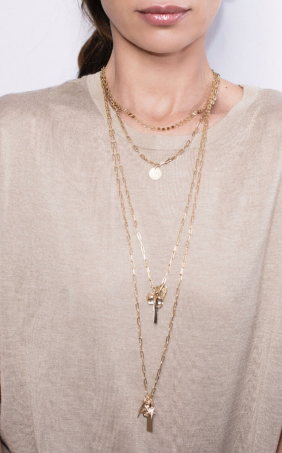 CARA III - THE IBIG LOVE TAG NECKLACE - Kette mit grossem gravierbarem Medaillon Anhänger -  Gold - CLASSYANDFABULOUS JEWELRY