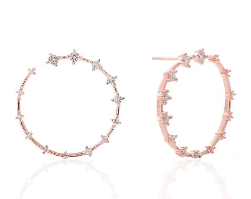 GIZA Diamond Row OPEN Circle Earrings - Roségold