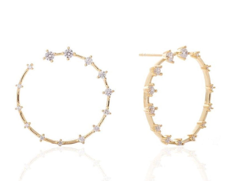 GIZA Diamond Row OPEN Circle Earrings - Gold