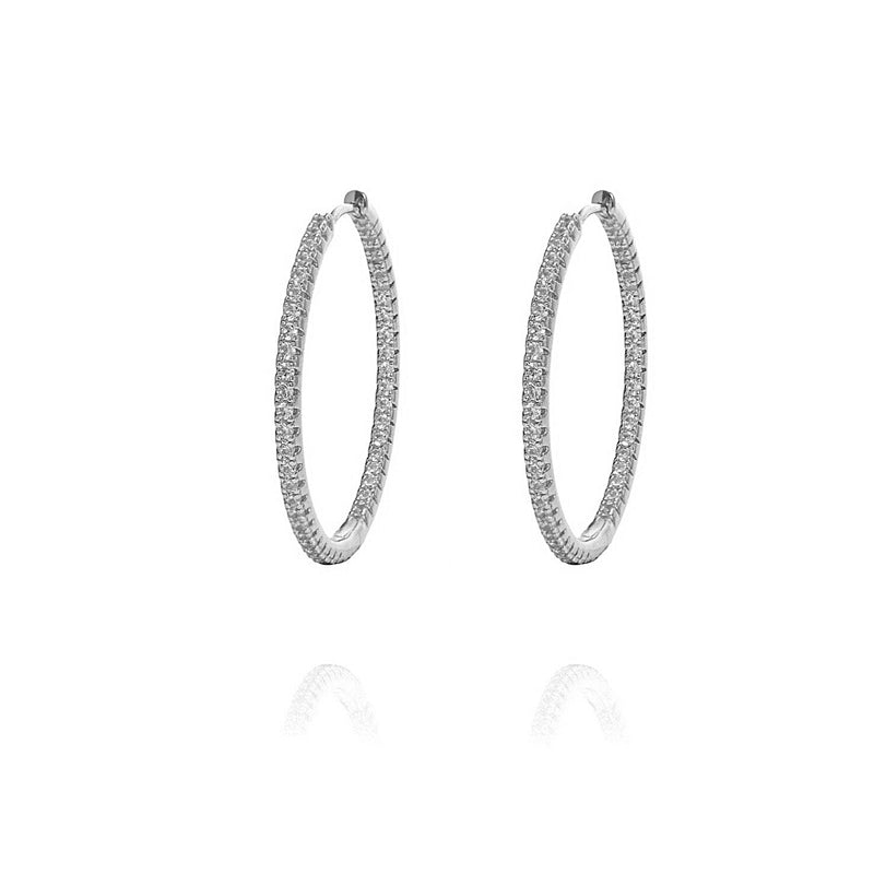 ALEA 2in1 - DIAMOND INSIDE OUTSIDE HOOPS AND PLAIN HOOPS - Medium -  Silber