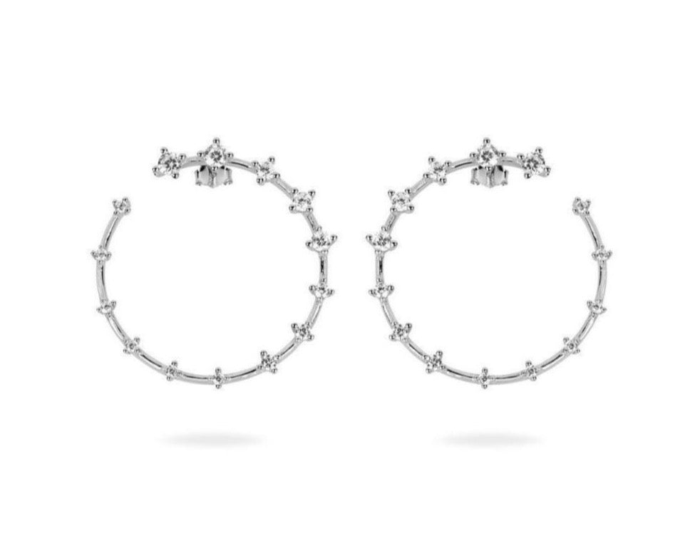 GIZA Diamond Row OPEN Circle Earrings - Silber - CLASSYANDFABULOUS JEWELRY