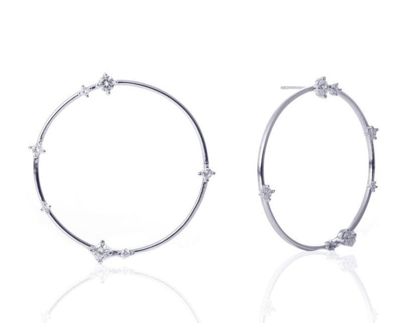 GIZA Scattered Diamond Big Circle Earrings - Silber
