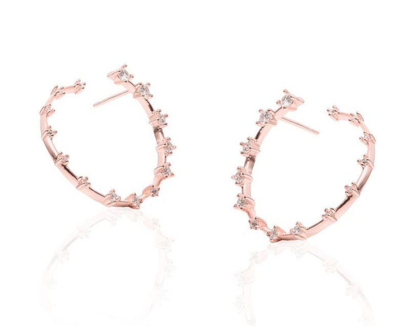 GIZA Diamond Row HIDDEN Circle Earrings - Roségold