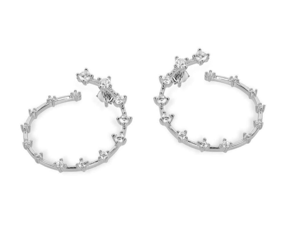 GIZA Diamond Row HIDDEN Circle Earrings - Silber - CLASSYANDFABULOUS JEWELRY