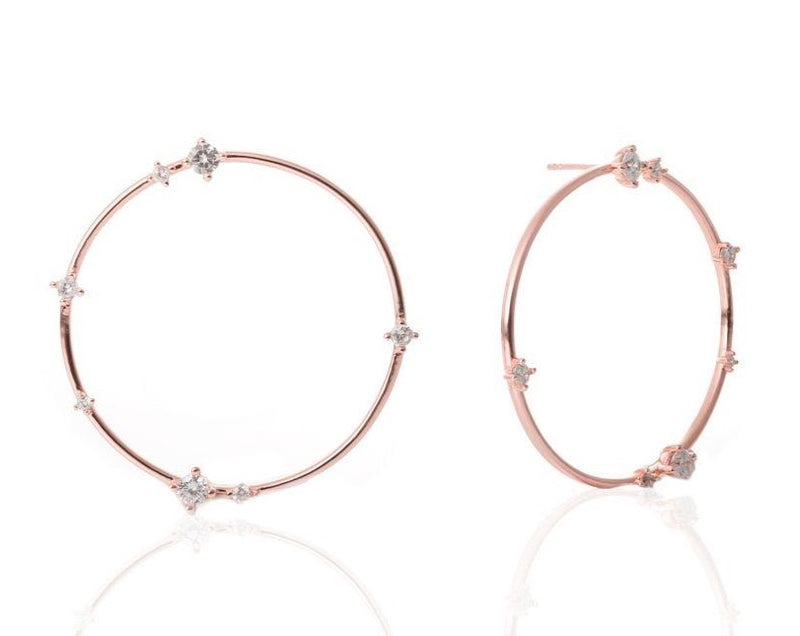 GIZA Scattered Diamond Big Circle Earrings - Roségold