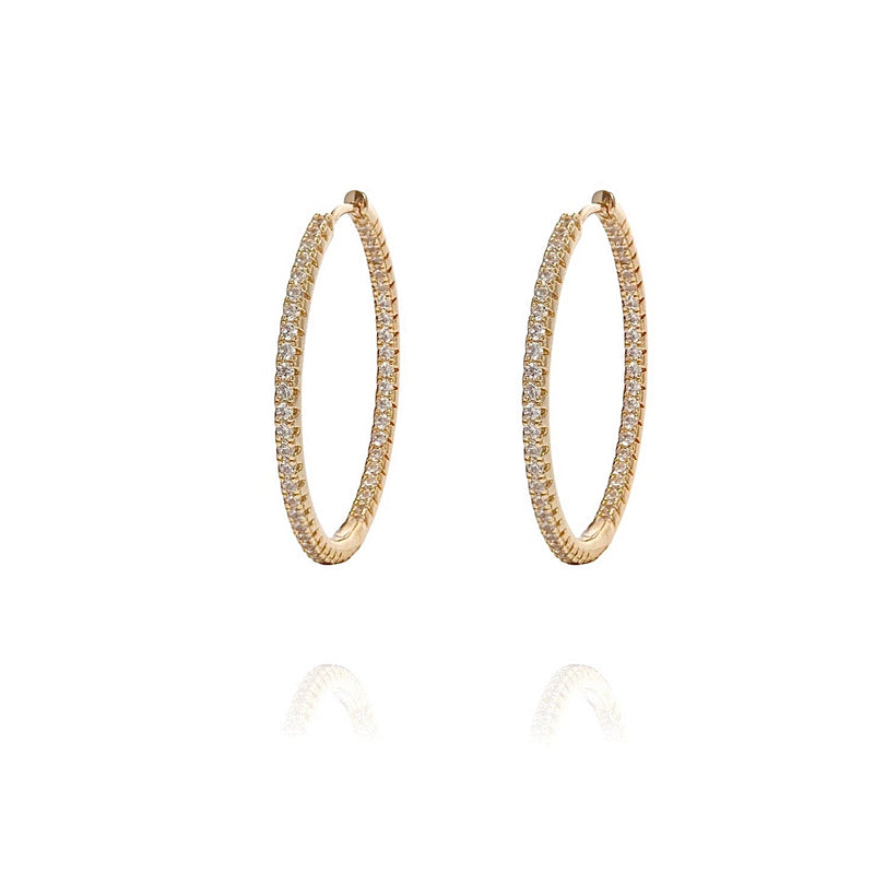 ALEA 2in1 - DIAMOND INSIDE OUTSIDE HOOPS AND PLAIN HOOPS - Medium -  Gold