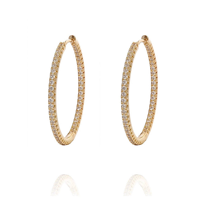 ALEA 2in1 - DIAMOND INSIDE OUTSIDE HOOPS AND PLAIN HOOPS - Maxi-  Gold