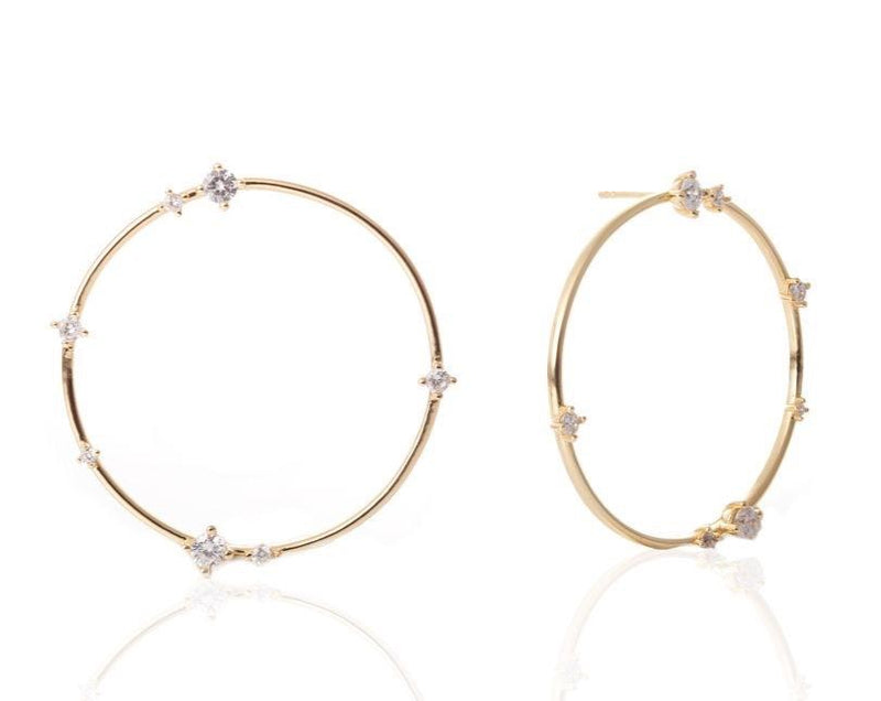 GIZA Scattered Diamond Big Circle Earrings - Gold